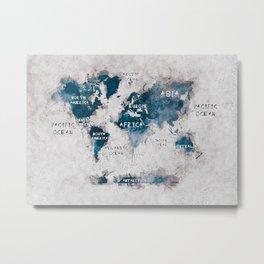world map 13 #worldmap #map #world Metal Print