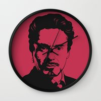 robert downey jr Wall Clocks featuring Robert Downey Jr. by ArDem