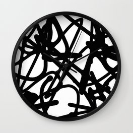 Meaningless - Black and white expressive painting Wall Clock