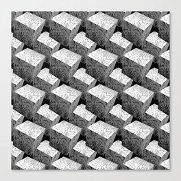 3D Cubes_Black Woodblocks Canvas Print