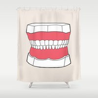 teeth Shower Curtains featuring Uzual Teeth by uzualsunday