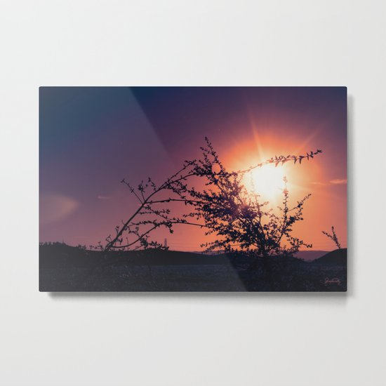 Catching the Moment (Coral Orange Sunset, Dark Violet sky) Metal Print