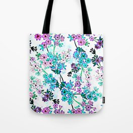 Turquoise Lavender Floral Tote Bag