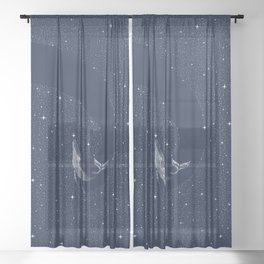 starry whale Sheer Curtain