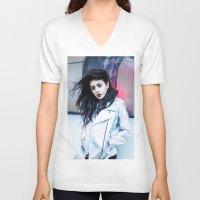 charli xcx V-neck T-shirts featuring Charli XCX by behindthenoise