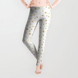 Gold Star Sprinkle on White Leggings