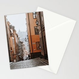 Quaint, cobbled back street in Gamla Stan | Stockholm, Sweden Stationery Cards