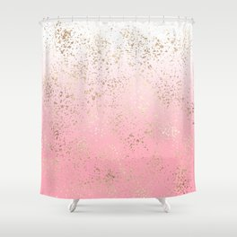 Pink White Ombre Speckled Gold Flakes Shower Curtain