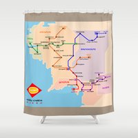 middle earth Shower Curtains featuring Middle-Earth metro map by tuditees