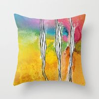 three of the possessed Throw Pillows featuring Three by ghennah