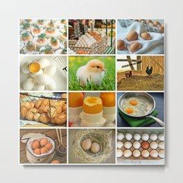 Chicken Eggs Collage Kitchen Decor Metal Print