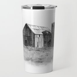 Pencil Art, Old Wooden Barn and Wooden Silo, Country Scene Travel Mug