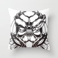 mass effect Throw Pillows featuring Mass Effect. Garrus Vakarian by OneAppleInBox