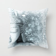 Fade to White Budda Throw Pillow