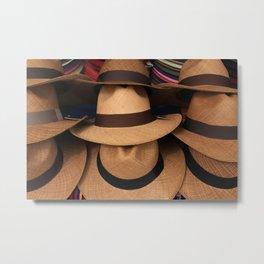 Panama Hats at the Market Metal Print