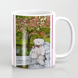 Teddy bear by the pond in autumn Coffee Mug
