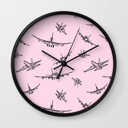 Airplanes on Light Pink Wall Clock