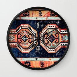 Davagin  Antique Daghestan East Caucasus Kilim Print Wall Clock