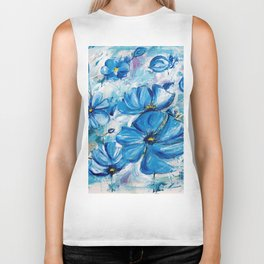 Abstract Blue Poppies Biker Tank