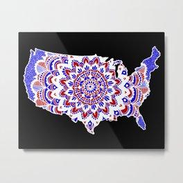 Mandala Map of the USA Metal Print