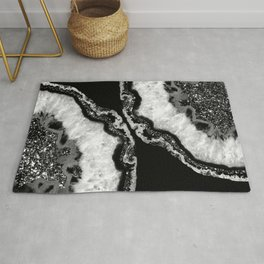 Yin Yang Agate Glitter Glam #4 #gem #decor #art #society6 Rug
