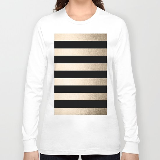 Simply Striped White Gold Sands on Midnight Black Long Sleeve T-shirt