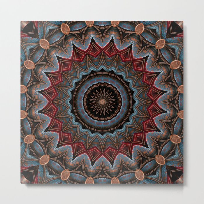 Elegant Damask Star Mandala Metal Print