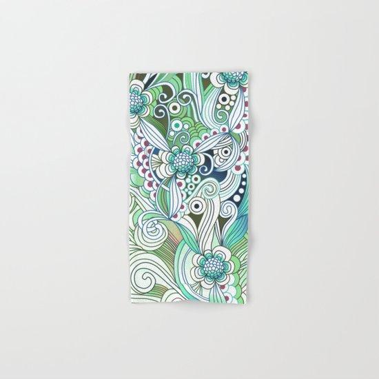 Zentangle Flower fire, green doodle Hand & Bath Towel