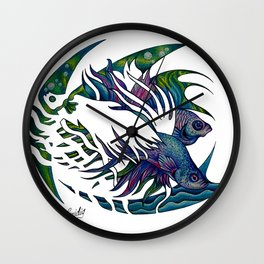 Siamese fighting fish themed artwork Wall Clock