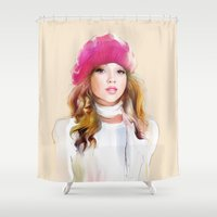 red riding hood Shower Curtains featuring  red riding hood by tatiana-teni