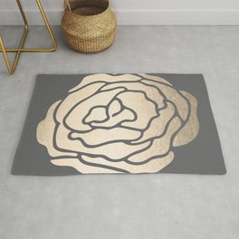 Rose in White Gold Sands on Storm Gray Rug