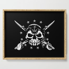 Old Salt Sailor Skull with 13 Stars, Anchor and Crossed Cutlasses Serving Tray