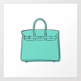 Teal / Sea Green Birkin Vibes High Fashion Purse Illustration Art Print