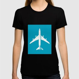 747-400 Jumbo Jet Airliner Aircraft - Cyan T-shirt