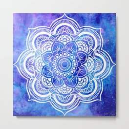 Mandala Blue Lavender Galaxy Metal Print
