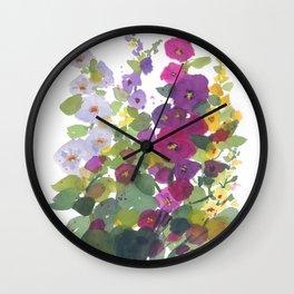 Purple Hollyhock Garden Wall Clock