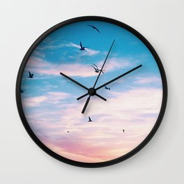 Sunset with Seagulls Wall Clock