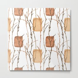 Winter branches and golden bricks Metal Print