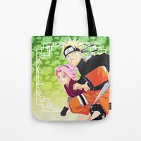 sasuke Tote Bags featuring Naruto & Sakura by Neo Crystal Tokyo