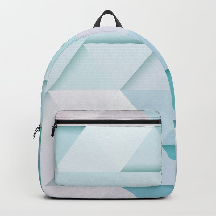 Pale Mint Blue Triangles Backpack