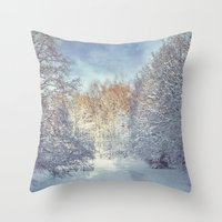 blanket Throw Pillows featuring White Blanket by Dirk Wuestenhagen Imagery