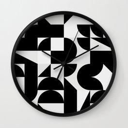 Modern Geometry / Minimal, Black, White, Grey Wall Clock
