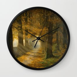 Early Morning Light, Autumn landscape painting by Max Ernst Pietschmann Wall Clock