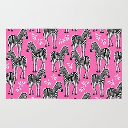 zebras on pink Rug
