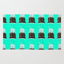 takeaway coffee pattern, mint Rug