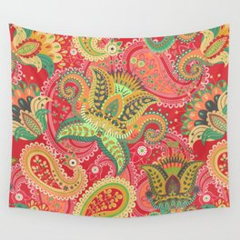 Boho Paisley Floral Pattern 4 Wall Tapestry