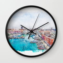 Aquarelle sketch art. Old fortress of Livorno, Tuscany, Italy Wall Clock