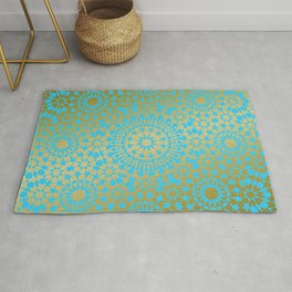 Moroccan Nights - Gold Teal Mandala Pattern 1 - Mix & Match with Simplicity of Life Rug