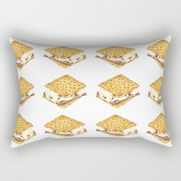 Delicious Watercolor Illustration S'more Pattern Rectangular Pillow
