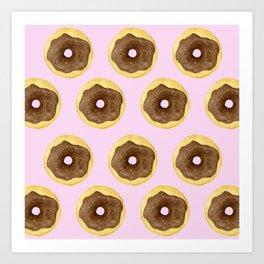 Donut Pattern - Pink Art Print